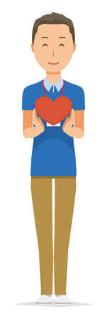 A male staff wearing nameplate has a heart mark Stock Illustratie
