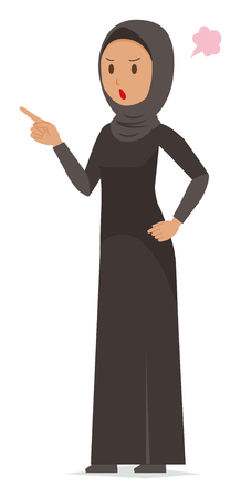 An arab woman wearing ethnic costumes is angrily pointing to a finger
