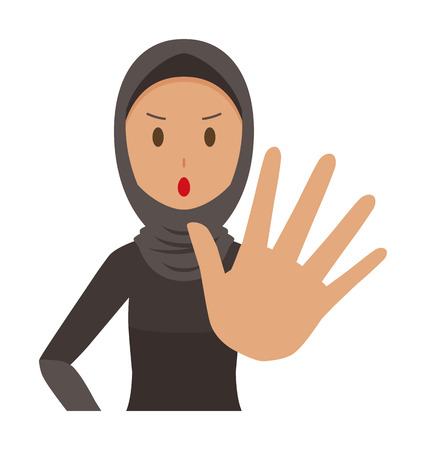 An arab woman wearing ethnic costumes is stop gesture