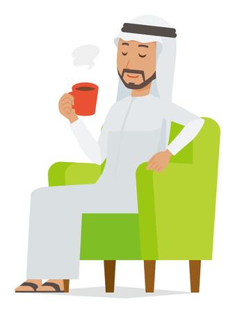 Cartoon man image drinking coffee Çizim