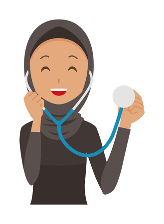 Cartoon woman wearing stethoscope image illustration