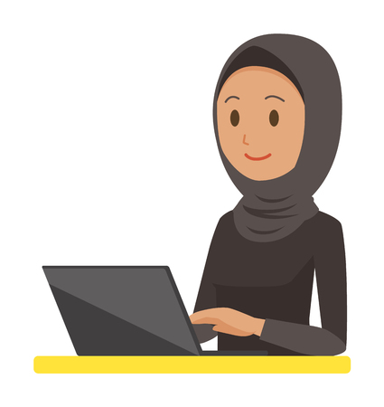 An Arab woman wearing ethnic costumes is operating a laptop computer.