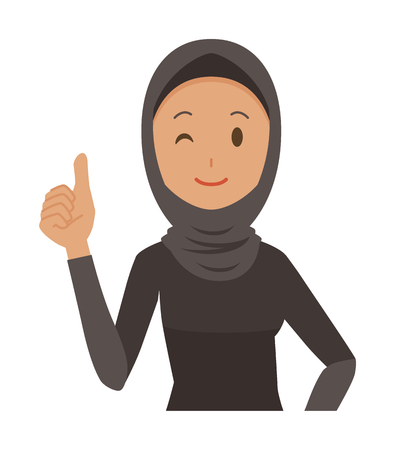 An Arab woman wearing ethnic costumes is showing thumbs up.  イラスト・ベクター素材