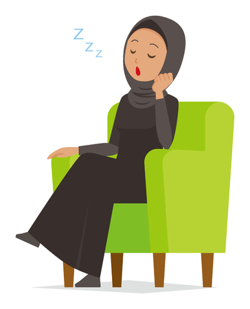 An Arab woman wearing ethnic costumes is sleeping on a sofa.