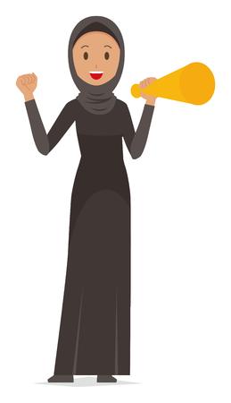 Een Arabische vrouw in etnische kostuums heeft een megafoon.
