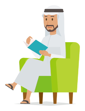An Arab man wearing ethnic costumes is reading on a sofa. Çizim