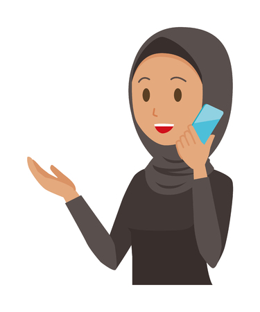 Cartoon woman image using a mobile phone illustration