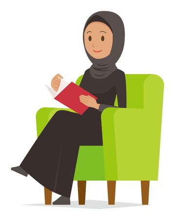 Cartoon woman image reading books.illustration 일러스트