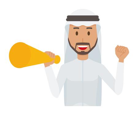 Cartoon man image holding a megaphone illustration Illustration