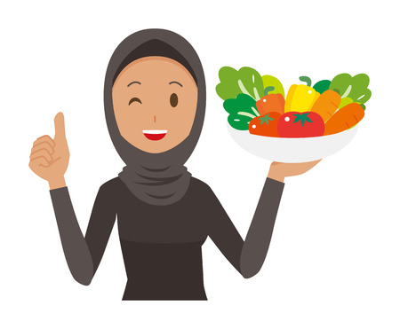 Cartoon woman image holding vegetables illustrations