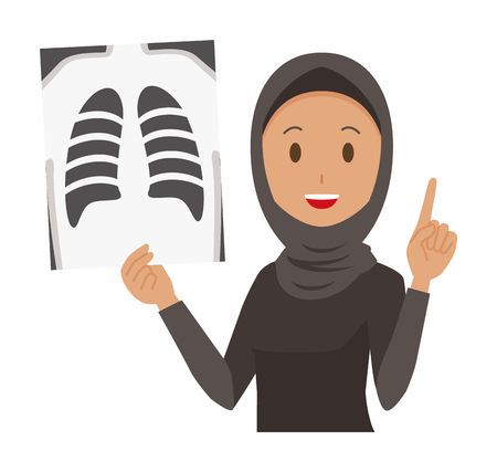 Cartoon woman image holding a xray illustration