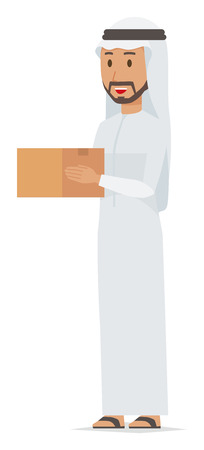 Cartoon man image holding a box illustration
