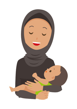 Cartoon woman image holding a baby illustration