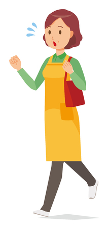 A middle-aged housewife wearing an apron  is  running with bag