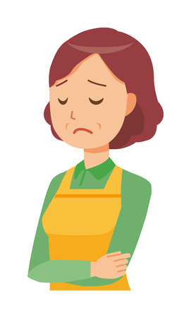 A middle-aged housewife wearing an apron is depressed