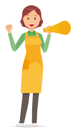 A middle-aged housewife wearing an apron has a megaphone Vectores