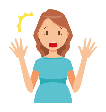 A pregnant woman wearing green clothes is surprised  イラスト・ベクター素材
