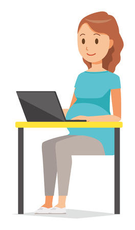 A pregnant woman wearing green clothes is operating a laptop computer