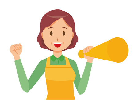 A middle-aged housewife wearing an apron has a megaphone Stock Vector - 97332092