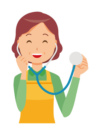 A middle-aged housewife wearing an apron has a stethoscope Illustration