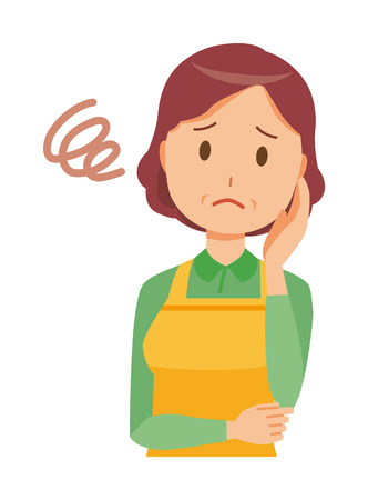 A middle-aged housewife wearing an apron  is in trouble