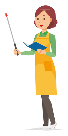A middle-aged housewife wearing an apron has a pointer Vettoriali
