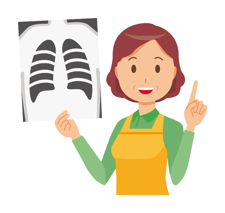 A middle-aged housewife wearing an apron has an X-ray picture