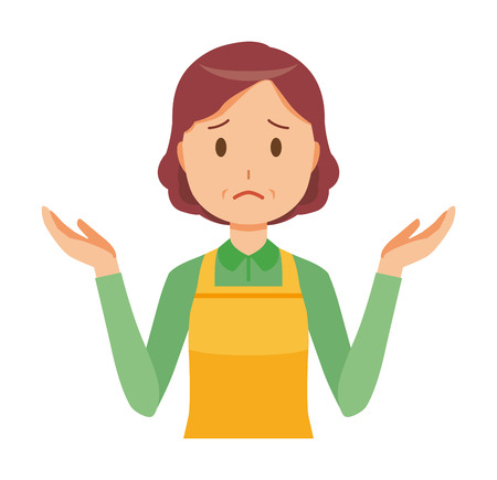 A middle-aged housewife wearing an apron is shrugging her shoulders