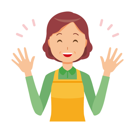 A middle-aged housewife wearing an apron is spreading her hands