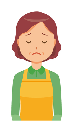 A middle-aged housewife wearing an apron is apologizing