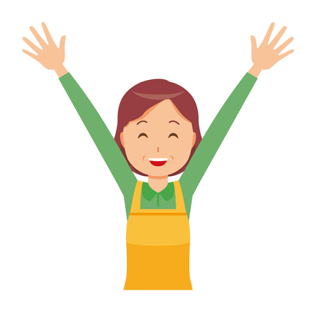 A middle-aged housewife wearing an apron is putting up both hands