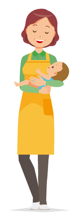 A middle-aged housewife wearing an apron holds a baby in her arm