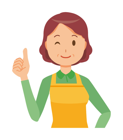 A middle-aged housewife wearing an apron is showing thumbs up