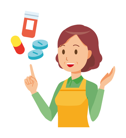 A middle-aged housewife wearing an apron is explains about medicine Ilustracja