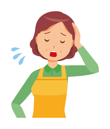 A middle-aged housewife wearing an apron is tired Illustration