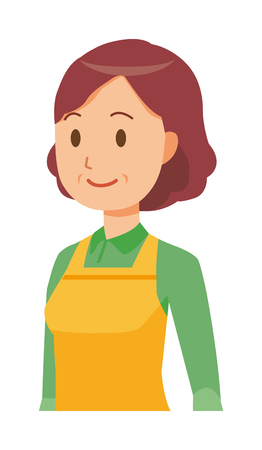 A middle-aged housewife wearing an apron is walking