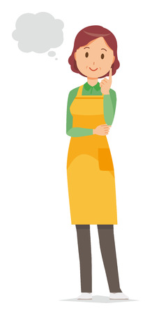 A middle-aged housewife wearing an apron is imagining Vettoriali