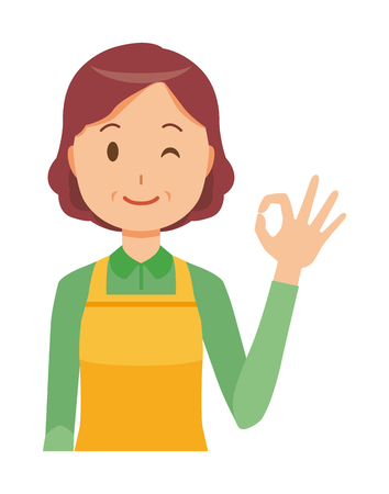 A middle-aged housewife wearing an apron is playing an okay sign