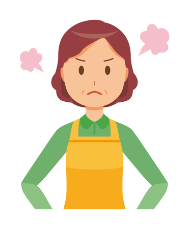A middle-aged housewife wearing an apron is angry 일러스트