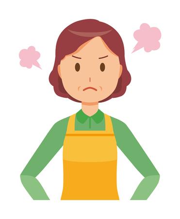 Una ama de casa de mediana edad con un delantal está enojada Ilustración de vector
