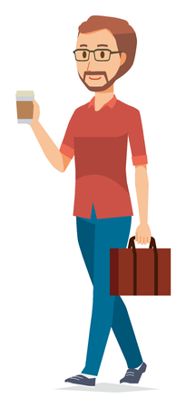 A bearded man wearing eyeglasses is walking with coffee  イラスト・ベクター素材
