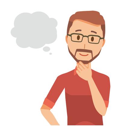 A bearded man wearing eyeglasses is imagining Illustration