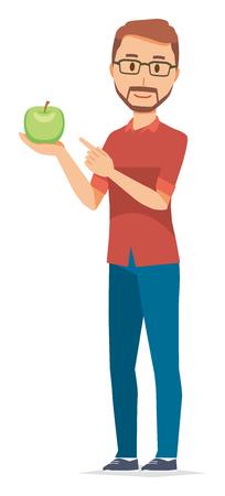 A bearded man wearing eyeglasses has a green apple