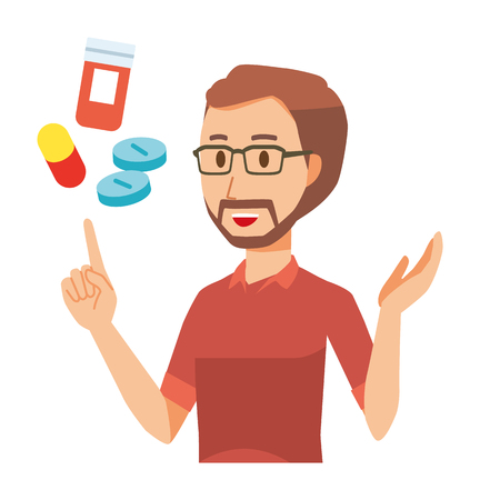 A bearded man wearing eyeglasses is explains about medicine  イラスト・ベクター素材