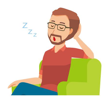 A bearded man wearing eyeglasses is sleeping on a sofa
