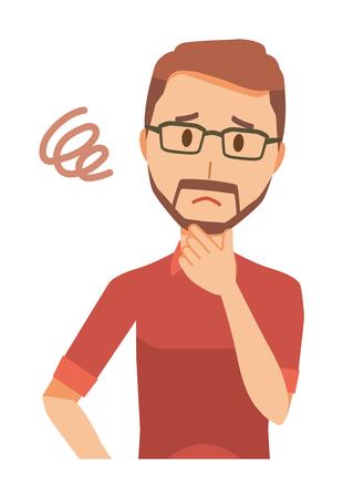 A bearded man wearing eyeglasses  is in trouble