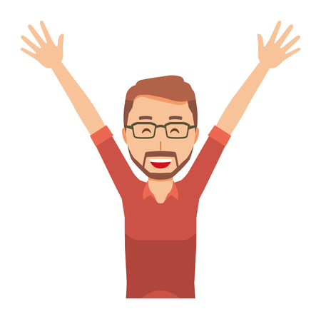 A bearded man wearing eyeglasses is putting up both hands
