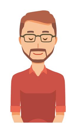 A bearded man wearing eyeglasses is bowing