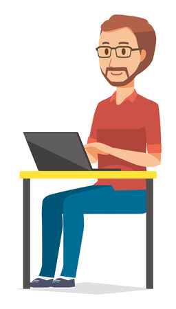 A bearded man wearing eyeglasses is operating a laptop computer  イラスト・ベクター素材