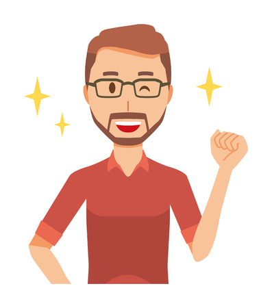 A bearded man wearing eyeglasses is winking and raised one hand